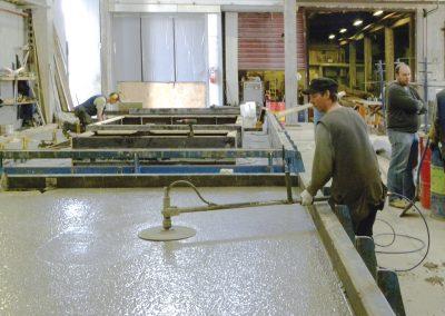 Casting concrete elements at the production plant.