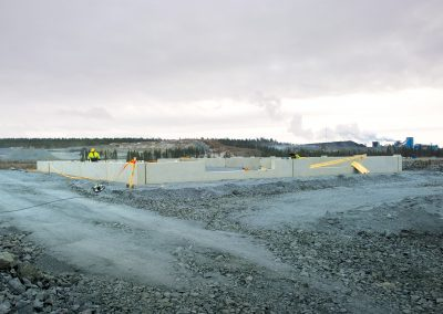 Installing plinths at mine site in Kittilä.