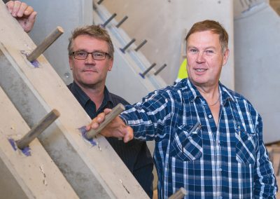 Jaakko Pakisjärvi and Lasse Sunila with balcony elements to be delivered in Sweden.
